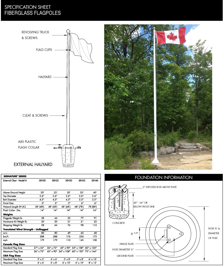 20ft - 40ft Commercial Cone Tapered Fiberglass Flagpole, Tilt Base, External Halyard