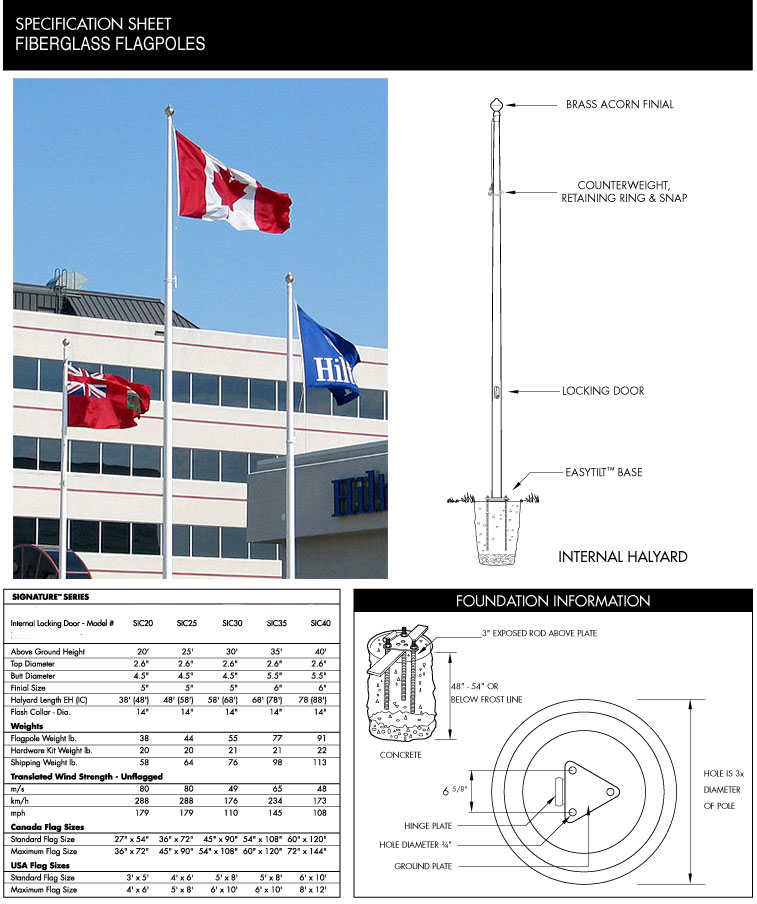 20ft - 40ft Commercial Cone Tapered Fiberglass Flagpole, Tilt Base, Internal Halyard